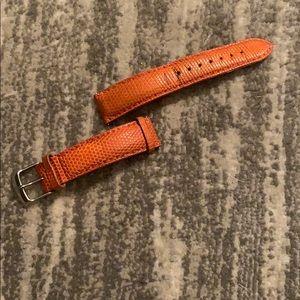 Authentic Michele orange lizard watch strap